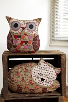 Florence owl and Agnes sleeping cat cushion