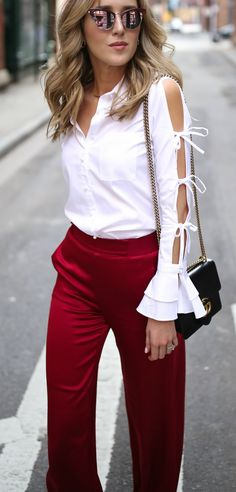 LOOKS FOR LESS: My Top 8 Most-Liked Looks, Recreated // White bow sleeve blouse, satin red wide-leg pants + mirrored cat eye sunglasses {Gucci, Alice + Olivia, statement sleeves} Casual Outfits, Cute Outfits, Fashion Outfits, Womens Fashion, Red Wide Leg Pants, Wide Legs, Work Chic, How To Wear Scarves, Work Attire