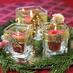 Vintage Rhinestone Votives---Reflect upon the season with votives designed to show off some sparkly jewelry.