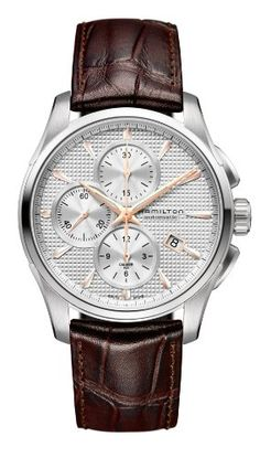 Men's Wrist Watches - Hamilton Jazzmaster Silver Dial SS Leather Chrono Automatic Male Watch H32596551 -- Details can be found by clicking on the image.