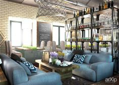 Ресторан: интерьер, лофт, ресторан, кафе, бар, стена, 50 - 80 м2, зал #interiordesign #loft #restaurant #cafeandbar #wall #50_80m2 #hall arXip.com
