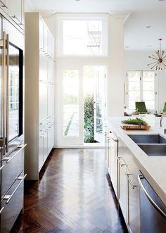 double deep sink, herringbone tile floors