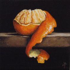 Peeled Clementine, J Palmer Daily painting Original oil still life Art