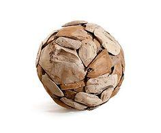 Decoratieve houten bal Roquelaure, naturel, H 40 cm