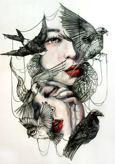 """red-lipstick: """"Marie-Esther aka Gaia Alari (Italy) - This Cage Is Deceitful, 2015 Mixed Media: Watercolors, Colored Pencils, Graphite on Paper """" Fantasy Kunst, Fantasy Art, Drawing Sketches, Art Drawings, Art Du Collage, Bd Art, L'art Du Portrait, Portraits, Person Cartoon"""