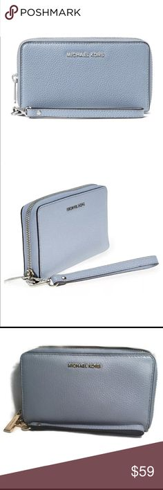 11255029453b MICHAEL Kors Mercer Lg Phone pale blue wallet New with defects (see pics