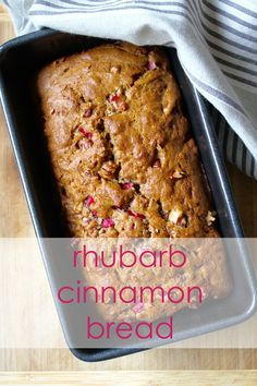 This easy bread gets a lovely flavor from cinnamon and brown sugar, but packs a punch of spring flavor thanks to nuggets of rhubarb Rhubarb Bread, Rhubarb Desserts, Rhubarb Cake, Easy Desserts, Delicious Desserts, Dessert Recipes, Cake Recipes, Healthy Rhubarb Recipes, Rhubarb Muffins
