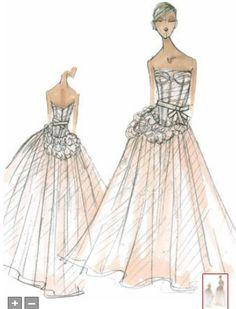 original Vera Wang sketches of the dress