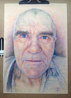 Portrait of my Grandfather (RIP) a3 colored pencils