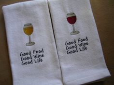 Wine Towels 2  Hand towels embroidered  Good by EmbroiderybyCathy, $14.99 ETSY