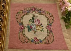 Amazing-Roses-French-Chic-Shabby-Floral-Scroll-Pink-Completed-Needlepoint-Canvas