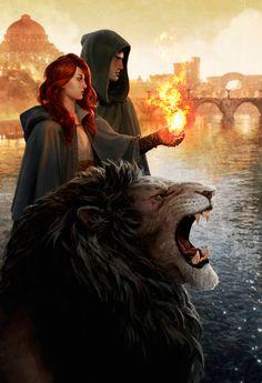 Feiticeira do Fogo, Guardião da Sacra Irmandade e Tyrer em forma animal. - Artista Desconhecido