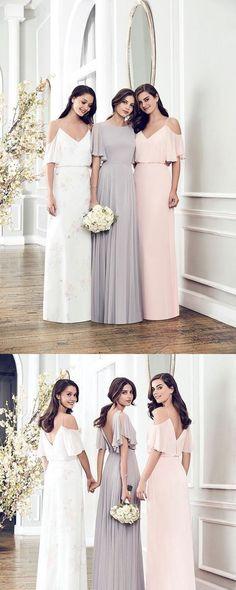 Chiffon Bridesmaid Dress, Round Neck/Spaghetti Backless Long Bridesmaid Dress 0339 by RosyProm, $128.99 USD