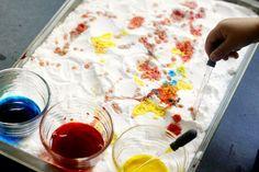 food coloring + vinegar + baking soda = mini volcanoes and hours of fun!