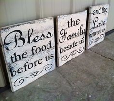 Bless the Food Before Us, Family Besides Us, and the Love Between Us Kitchen Décor Sign Need the perfect sign to complete the look in your kitchen or dining room? This is it! There is no better way to accentuate your dining room decor than with this wooden kitchen sign set. Arriving in a set of three, each sign carries a different quote that rounds out a beautiful prayer that should always be cherished. With a distressed painted background and jet black text, it will make an attractive…