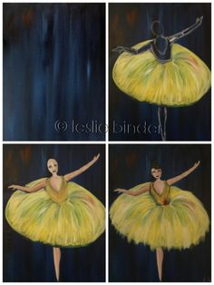 """Evolution of """"Arabesque"""" painted by Leslie Binder @ Painting with a Twist Miami"""