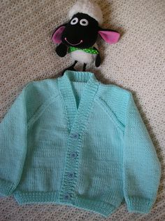 """Baby boy's blue / turquoise cardigan - size 20"""" (51cm) chest - to fit a child aged 6-12 months."""