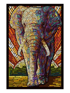 Elephant - Paper Mosaic by Lantern Press