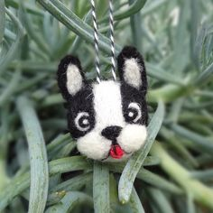 A happy Black Boston Terrier ornament to hang from your tree this holiday! Each one is needle felted by hand and the average size of this ornament