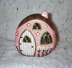 Ideas for rock painting. River Rock Fairy Houses (Front, Pink #6) | Flickr - Photo Sharing!