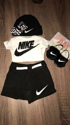 5 Simple and Inexpensive Baby Shower Gift Ideas. Cute Nike Outfits, Cute Lazy Outfits, Cute Baby Girl Outfits, Sporty Outfits, Toddler Outfits, Swag Outfits, Kids Outfits, Girls Fashion Clothes, Teen Fashion Outfits