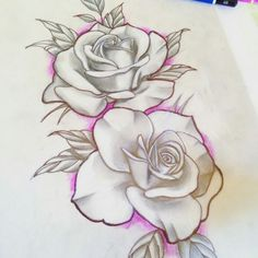 one dark blue one hot pink Rose Drawing Tattoo, Tattoo Sketches, Tattoo Drawings, Drawing Sketches, Floral Tattoo Design, Flower Tattoo Designs, Chicano Art Tattoos, Body Art Tattoos, Rose Tattoos