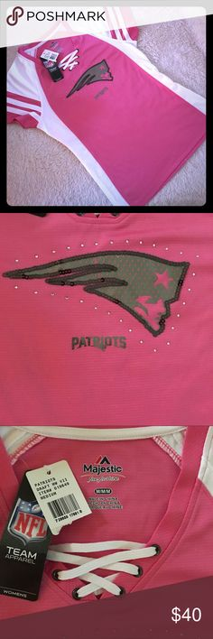 BRAND NWT NFL NE Patriots top M This top is gorgeous, but just a bit too small for me, no matter how I try and cram into it. Gorgeous pink and white jersey design with sexy lace-up detailing. Patriots logo in sequins. Original price was $70, I'm just asking for $40. Grab it now before football season! Perfect for OctoberBreast cancer awareness month! NFL Tops