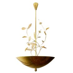 1stdibs | Large Paavo Tynell Chandelier with Floretes, Branches, and Leaves