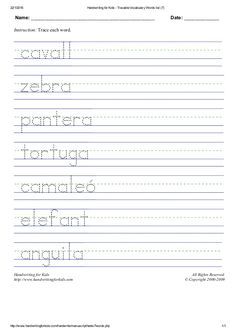 5 pàgines de cal·ligrafia en català per practicar la lletra d'impremta.