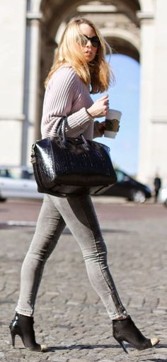 Lilac And Grey Casual Streetstyle...those shoes!!