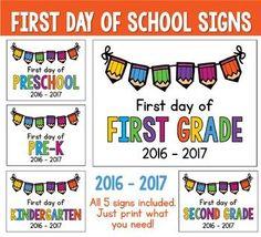 2016 - 2017 First Day of School Signs FREEBIE: Preschool,