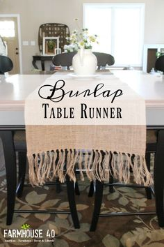 Farmhouse Table Runner White and Black Grain Sack Runner in farmhouse table Farmhouse Table Runner Diy Burlap Table Runner Of 40 Farmhouse Table Runner Farmhouse Table Runners, Farmhouse Table Plans, Farmhouse Decor, Country Farmhouse, Country Living, French Country, Diy Projects Cans, Diy Furniture Projects, Cool Diy Projects