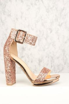 13fa630797a Sexy Rose Gold Chunky Heel Platform Pump Open Toe High Heels Glitter