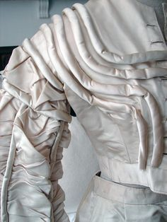 Maria Niforos - Fine Antique Lace, Linens & Textiles : Antique Edwardian & Victorian Clothing # CL-54 Circa 1800's, Lovely Silk Wedding Ensemble w/ Roleaux Work