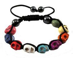 Tibetan Multi-Color Prayer Beads Skull Bracelet, Skull Beads, Skull Prayer Beads Wrist Mala Shamballa Bracelet Hinky Imports. $9.99. Made from Magnesite (Dyed) Gemstone Beads. Bead Size: 12mm. Adjustable Size: One Size Fits All. Shamballa Bracelet-Protects You from Evil Spirits. Handmade in Nepal