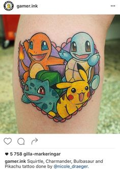 Cute Pokémon tattoo with Squirtle, Charmander, Bulbasaur and Pikachu by @nicole_draeger on Instagram