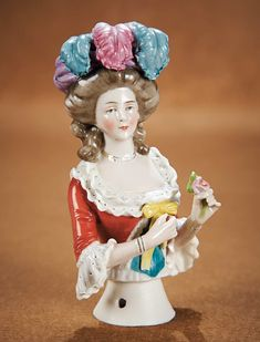 "The Vanity Fair - Strong Museum Half Dolls: 140 German Porcelain Half Doll ""Lady with Plumed Turban"""
