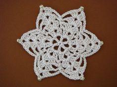 コースターの編み図と花 | 愛の編み物
