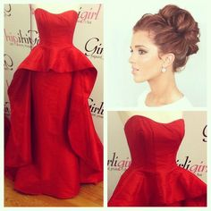 10eac799ed This dress is absolutely breathtaking! Red Taffeta peplum gown with a float!