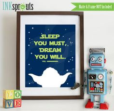 Star Wars inspired quote print, star wars, Jedi, Yoda, Yoda quote, Dream Big, outerspace, spacefighter, nursery print  Item  WC105B