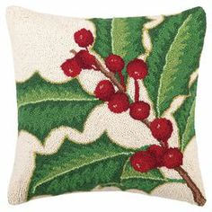 """Hand-hooked wool and cotton pillow with a holly berry motif.  Product: PillowConstruction Material: Wool, cotton cover and polyester fillColor: White, green and redFeatures:  Insert includedHand-hooked Dimensions: 18"""" x 18"""""""