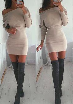Khaki Plain Asymmetric Shoulder Collarless Cotton Blend Mini Dress