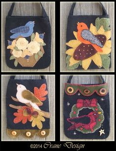 Tweets 4 You Wool Applique Ditty or Gift Bags . Designed & stitched by Jan Mott of Crane Design. Check out my blog spot to see shops that offer this pattern.