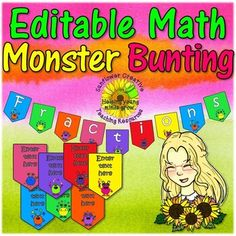 Editable Bunting with Math Monsters by Sunflower Creative Teaching Resources Classroom Bunting, Classroom Door Signs, Classroom Decor, Monster Clipart, Welcome Banner, Bunting Flags, Creative Teaching, Math Centers, Math Activities
