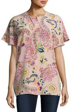 dccde850d34026 Etro Paisley Silk Short-Sleeve Blouse Kurze Ärmel Bluse, Rosa Muster, Rosa  Spitzen
