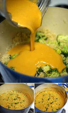 "Vegan ""Cheesy"" Broccoli & Quinoa Casserole.  Delicious! I used a regular sweet potato and subbed garlic powder for the onion powder.  Next time I may add in chicken or even more veggies!"