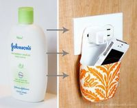 Holder for Charging Phone made from a Lotion Bottle! Ashley is a genius! #makeitandloveit
