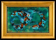 "Infinity Koi acrylic and gold leaf on panel 27 1/2 x 39 1/2"" $6,000."