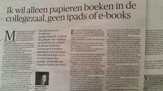Het nut van lezen van papier in het onderwijs. NRC 15 febr. 2014