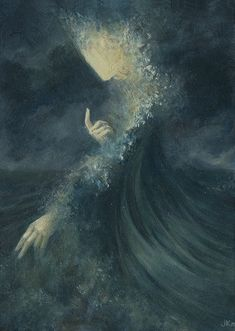Ulmo, Lord of Waters by Jenna Kass.  Oil on gessoboard, 5″x7″